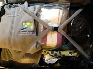 fabric, quilting supplies (and oh yeah, clothes and toiletries) all packed!