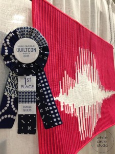 """""""What's the frequency, love?"""" by Sheri Cifaldi-Morrill at QuiltCon 2015"""