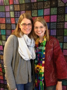 Leah and me in front of her 365 quilt—yup, 365 squares each with a different quilting pattern!