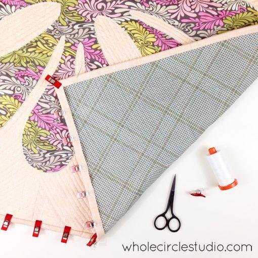 Day 27: 365 Days of Handwork Challenge— Saturday night stitching and finishing of latest Big Island Blossom quilt! Whole Circle Studio — 365 Days of Handwork Challenge