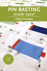 How to pin baste a quilt the easy way! Quilt basting without crawling around on the floor. No spray. On a table with curved pins. Make a quilt sandwich and ready for walking foot or free motion quilting!