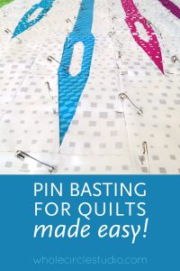 "Let's be real... basting quilts is NOT fun. I spent a couple of years finding an easy method that made it tolerable for me to complete this necessary task with minimal discomfort. Check out this video where I document my process of basting up to queen size quilts on my 60"" x 30"" worktable."