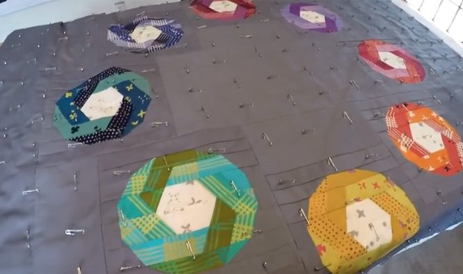 Quilt Pin Basting Tutorial Video by Whole CIrcle Studio.