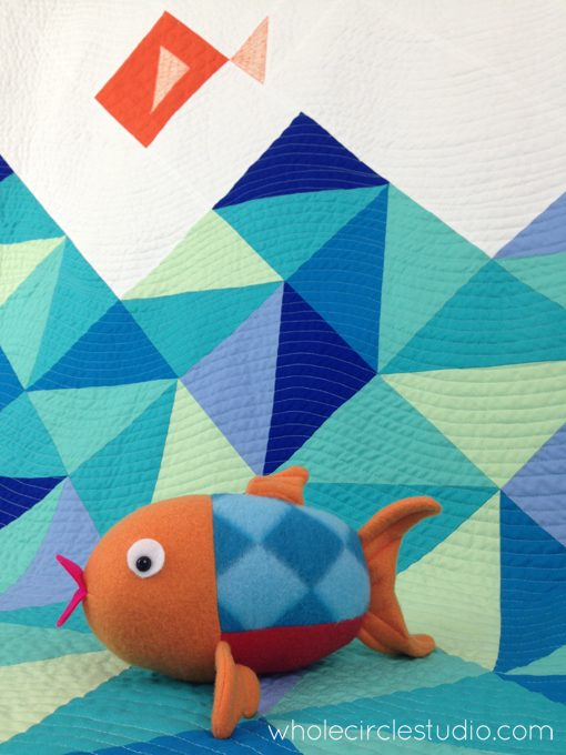 Little Fishies Quilt and Penny the Fish Softie Gift Set. Quilt Pattern by Whole Circle Studio. Softie Pattern by While She Naps