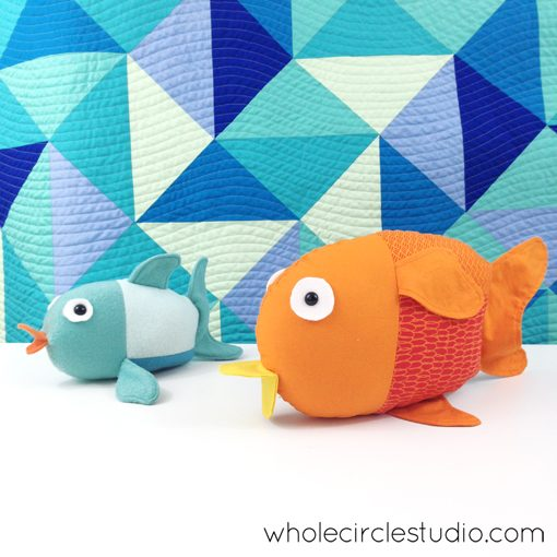 Finished Penny the Fishes. Softie pattern by Abby Glassenberg. The perfect companion to the Little Fishies pattern by Whole CIrcle Studio!
