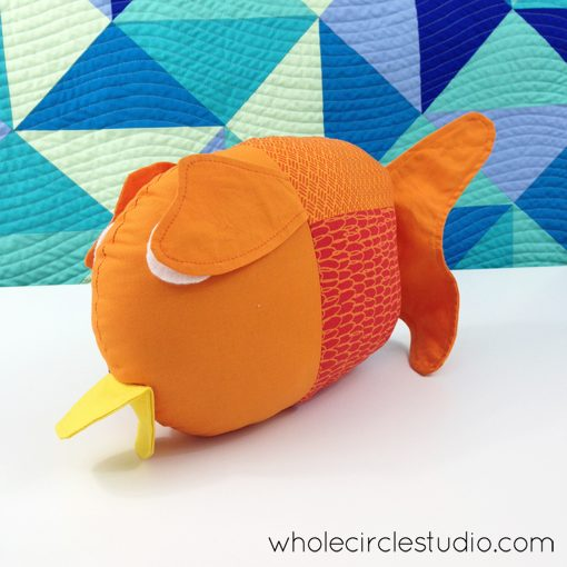 Finished Penny the Fish. Softie pattern by Abby Glassenberg. The perfect companion to the Little Fishies pattern by Whole CIrcle Studio!