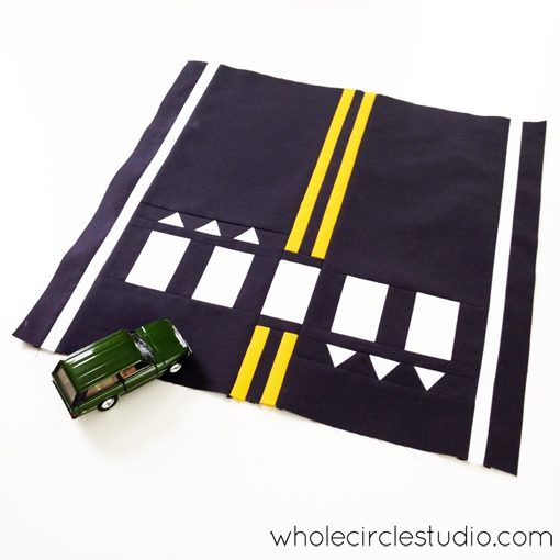 Road Work quilt pattern by Sheri Cifaldi-Morrill   whole circle studio.Perfect for a kid's bed, a play room or to use at a quilt show. Instructions for 4 sizes. Available at shop.wholecirclestudio.com