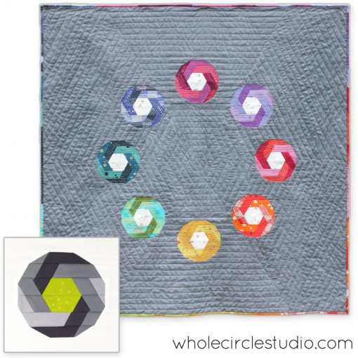 Shutter Snap pattern by Sheri Cifaldi-Morrill | Whole Circle Studio. Sheri will be teaching intermediate foundation paper piecing using the Shutter Snap pattern at QuiltCon 2018.