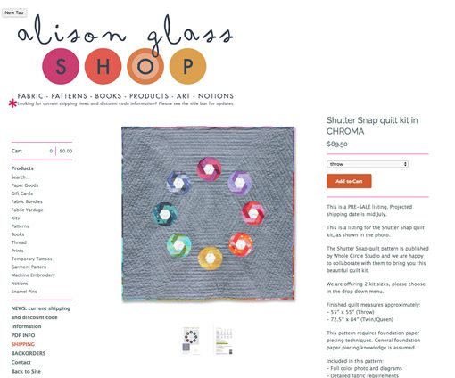 Shutter Snap quilt pattern. Design and pattern by Sheri Cifaldi-Morrill   www.wholecirclestudio.com