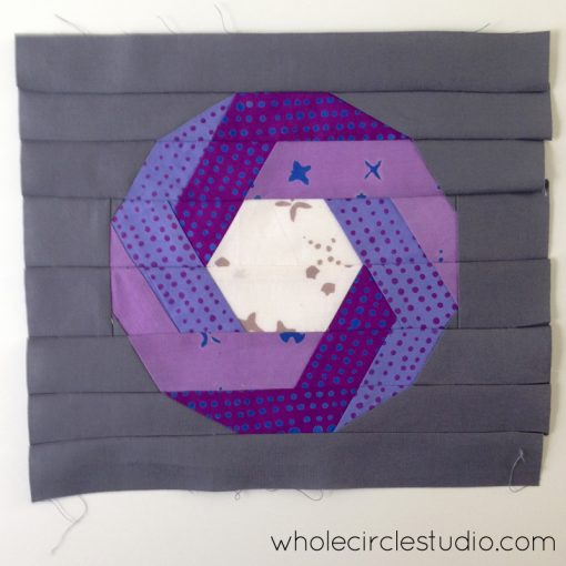 Foundation Paper Pieced Shutter Snap block. Design and pattern by Sheri Cifaldi-Morrill | www.wholecirclestudio.com | Fabric: Chroma by Alison Glass, Andover Fabrics