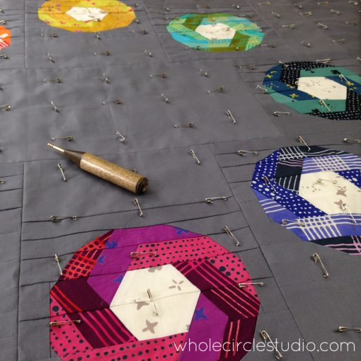 Basting Shutter Snap quilt. Design and pattern by Sheri Cifaldi-Morrill   www.wholecirclestudio.com   Fabric: Chroma by Alison Glass, Andover Fabrics
