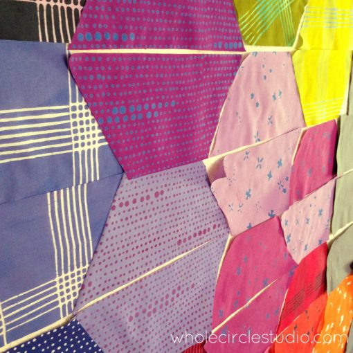 Piecing the back of Shutter Snap quilt. Design and pattern by Sheri Cifaldi-Morrill | www.wholecirclestudio.com | Fabric: Chroma by Alison Glass, Andover Fabrics