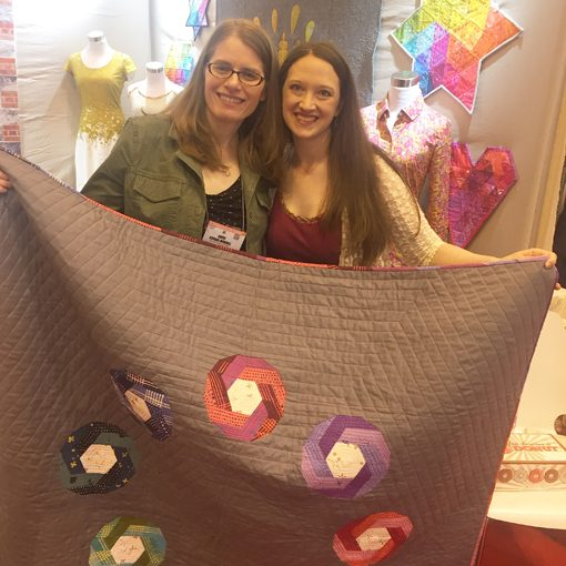 Alison Glass and Sheri with Shutter Snap Quilt. Design and pattern by Sheri Cifaldi-Morrill   www.wholecirclestudio.com   Fabric: Chroma by Alison Glass, Andover Fabrics