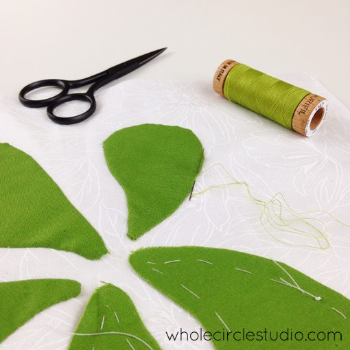 Day 155: 365 Days of Handwork Challenge — Moving on to green petals. Whole Circle Studio — 365 Days of Handwork Challenges