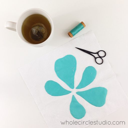 Day 162: 365 Days of Handwork Challenge — Working in final petal on this block while sipping green tea for my sore throat and watching finals of American Ninja Warrior. Whole Circle Studio — 365 Days of Handwork Challenges