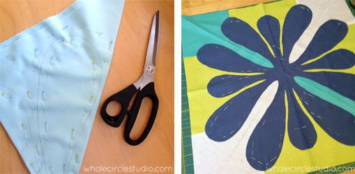 Preparing a modern, Hawaiian-inspired quilt. Design of Big Island Blossoms by Sheri Cifaldi-Morrill | Whole Circle Studio