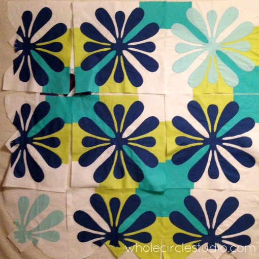 Work in progress: a modern, Hawaiian inspired needle-turn applique quilt. Big Island Blossoms by Sheri Cifaldi-Morrill | Whole Circle Studio