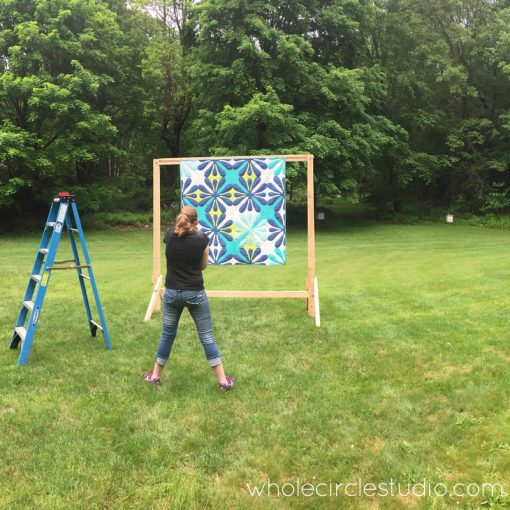 Behind the scenes photoshoot of Big Island Blossoms by Sheri Cifaldi-Morrill | Whole Circle Studio. A modern, Hawaiian-inspired quilt.