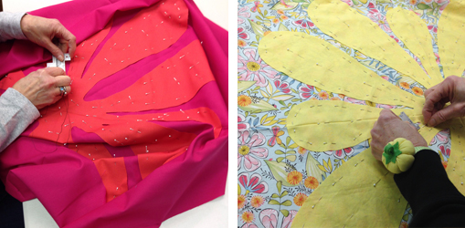 Student work in a Hawaiian Applique Made Modern Workshop by Sheri Cifaldi-Morrill | Whole Circle Studio.