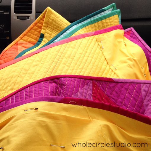 Day 182: 365 Days of Handwork Challenge — Sewing on sleeve while in car. Whole Circle Studio — 365 Days of Handwork Challenges