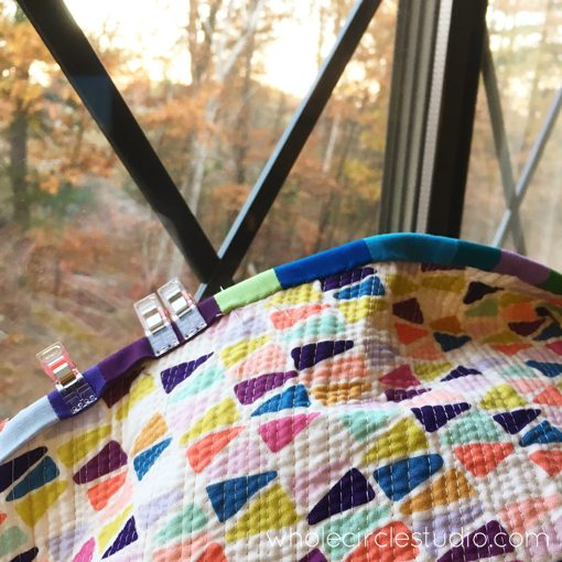 Day 215: Handwork before my presentation tonight at The Connections Quilt Festival. Beautiful here, but it's a chilly 28 degrees! Whole Circle Studio — 365 Days of Handwork Challenges