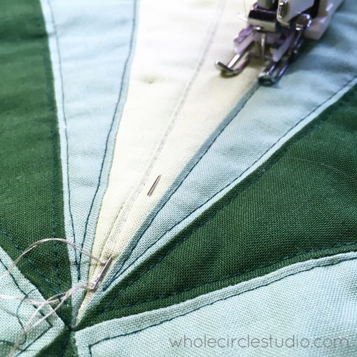 Day 224: / Burying threads as I quilt. Whole Circle Studio — 365 Days of Handwork Challenges