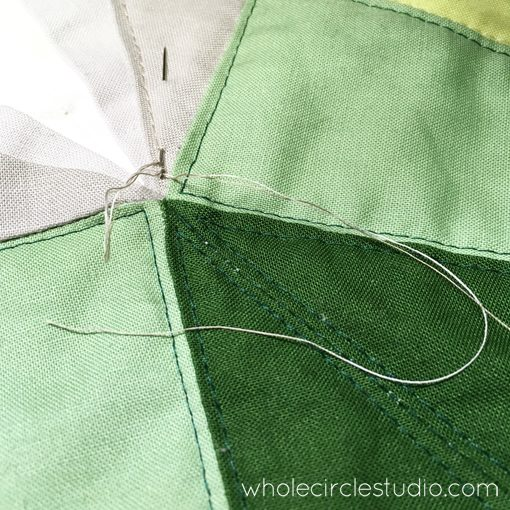 Day 225: / More thread burying as I quilt. Whole Circle Studio — 365 Days of Handwork Challenges