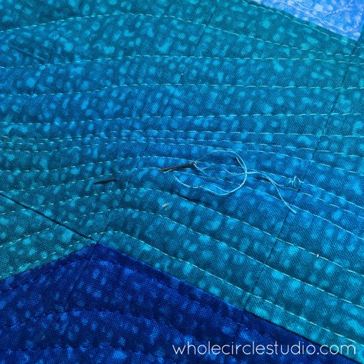 Day 266: / Last of the burying of threads on this quilt. Moving on to binding! Whole Circle Studio — 365 Days of Handwork Challenges