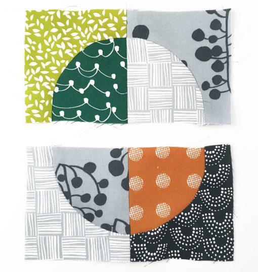 quilt | drunkard's path | block | curve | mini quilt | coaster | modern | Lotta Jansdotter | Lemmikki