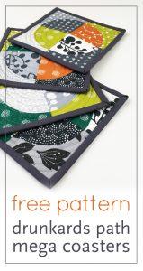 quilt | drunkard's path | block | curve | mini quilt | coaster | modern | free | pattern | modern quilt