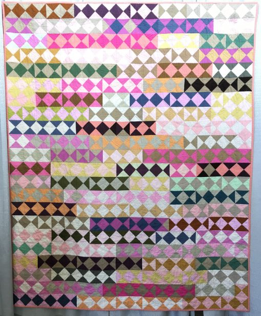 Tara Faughnan, hourglass, quilt, hand quilting, half square triangles, modern quilt, color study