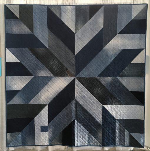Tara Glastonbury, jean, quilt, modern, Le Moyne star, sashiko, hand quilted, hand quilting, Australia, Sydney Modern Quilt Guild
