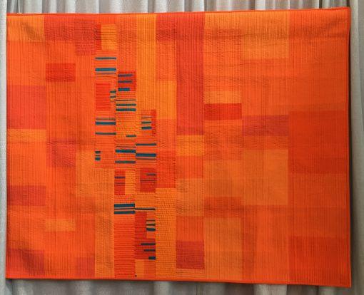 Debra Jalbert, matchstick quilting, modern, quilt, orange, bold, long-arm, wedding
