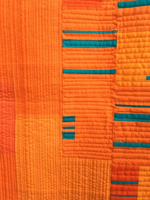 Debra Jalbert, matchstick quilting, modern, quilt, orange, bold, long-arm, wedding