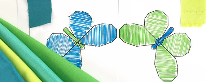 Color and fabric selection on my Butterfly Bunch coloring sheet. I used RJR Cotton Supreme solid fabric in blues and greens to make this mini quilt.