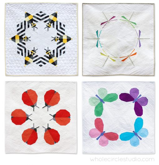 A series of insect quilts by Sheri CIfaldi-Morrill of Whole CIrcle Studio. Quilt patterns available at http://shop.wholecirclestudio.com/ The four patterns include designs that feature a bee, dragonfly, ladybug and butterfly. All patterns include foundation paper piecing and make wall hangings, mini quilts, lap / throw quilts, twin quilts and queen quilts.