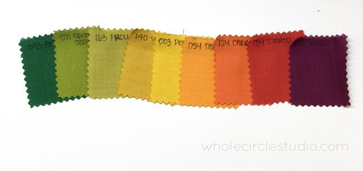 A beautiful gradient of fabric colors. A perfect call ombre reminiscent of changing autumn colors. This color palette is Painter's Palette Solids by Paintbrush Studio, curated by Sheri Cifaldi-Morrill of Whole Circle Studio