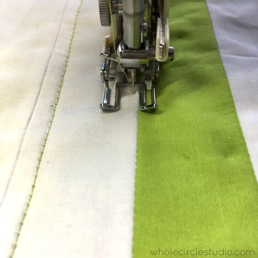 I like to use the seams in my quilt top as a guide when deciding how to quilt.