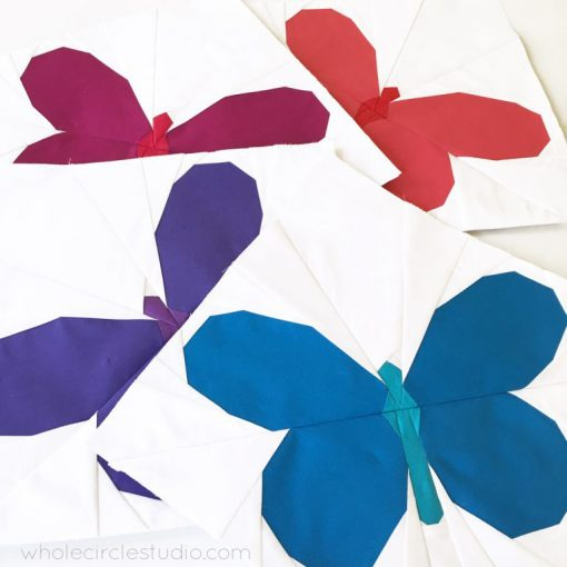 Butterfly Bunch quilt blocks. A cute, easy to make foundation paper piecing pattern. Make a wall hanging, mini quilt or bed quilt for a baby, kid or butterfly lover. Makes a great gift! Pattern by wholecirclestudio.com