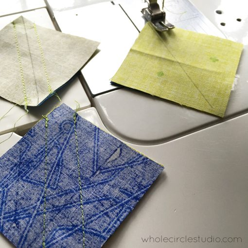 Making half square triangles with Alison Glass Sun Print 2018 fabric by Andover Fabrics. Pattern: Stone Slice by Whole Circle Studio