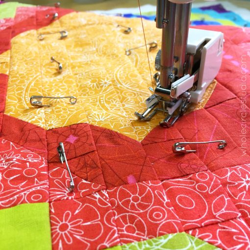 Walking foot quilting organic curvy lines.