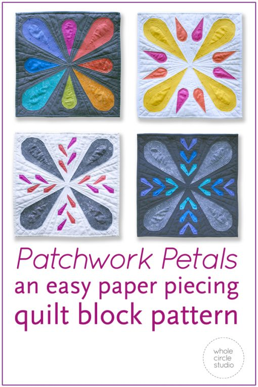 Patchwork Petals are fun, modern quilt blocks that make cute pillows, placemats and minis for quilt swaps. Make additional blocks to make a table runner, wall hanging, throw or large quilt (layout ideas included in the pattern). Mix and match blocks! Need a handmade housewarming or hostess gift? This is the perfect pattern! You'll enjoy making these fully-tested, foundation paper pieced blocks. This pattern is fabric stash friendly! Scraps, fat eighths and fat quarters work great for the petal portions of this pattern. Use prints, solids and/or fussy-cut your favorite fabric for the petals.