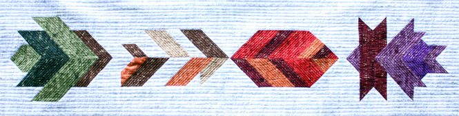 Leaf Peepers quilt blocks. Easy to piece half square triangle blocks. Make a mini quilt, table runner, wall hanging, twin quilt or queen quilt. Quilt Along with Leah Day and Whole Circle Studio.