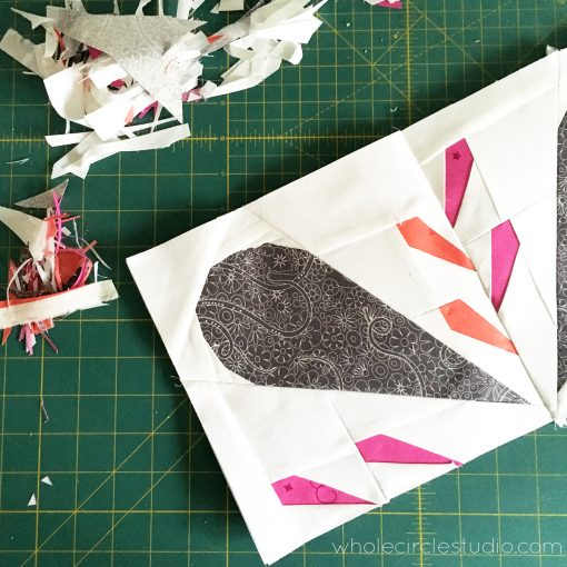 Foundation paper piecing Patchwork Petals Block 3. An easy, fun quilt block project. Join the Sew Along with Mister Domestic and Whole Circle Studio!