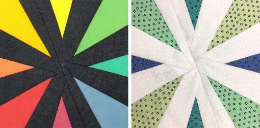 detail of front of Patchwork Petals block #1