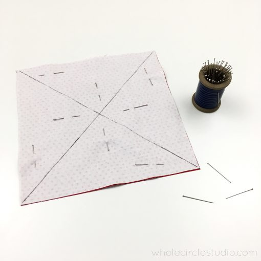 Video and photo tutorial on how to make 8 half square triangles (HSTs) at once using the Magic 8 method. Step 4. Visit blog.wholecirclestudio.com for more info