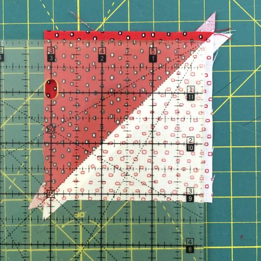 Video and photo tutorial on how to make 8 half square triangles (HSTs) at once using the Magic 8 method. Step 14. Visit blog.wholecirclestudio.com for more info