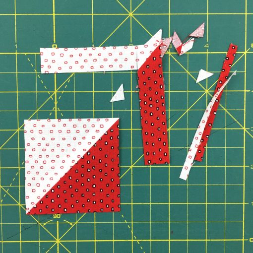 Video and photo tutorial on how to make 8 half square triangles (HSTs) at once using the Magic 8 method. Step 17. Visit blog.wholecirclestudio.com for more info