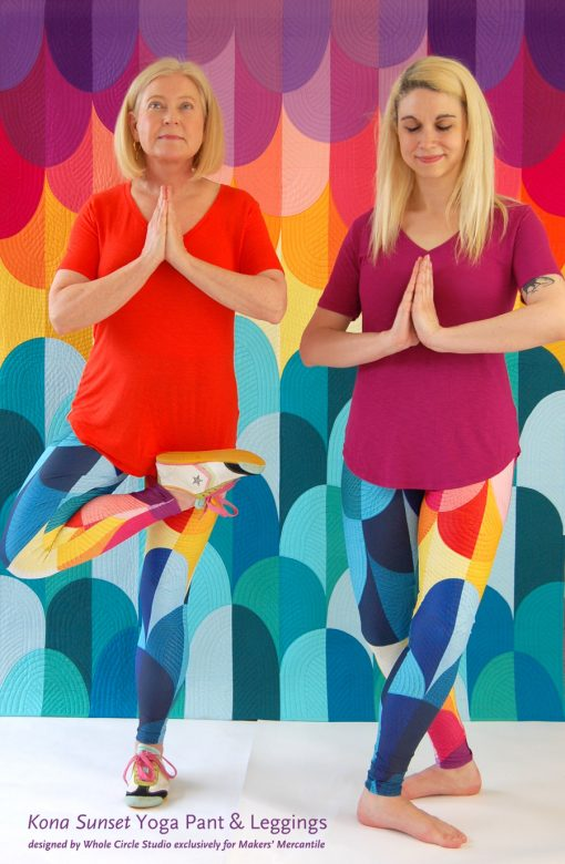 Kona Sunset Yoga Pants and Leggings. Super comfortable pants that are durable, breathable and perfect for dancing, yoga, the studio and walking around. Designed by Sheri Cifaldi-Morrill of Whole Circle Studio exclusively for Makers' Mercantile.