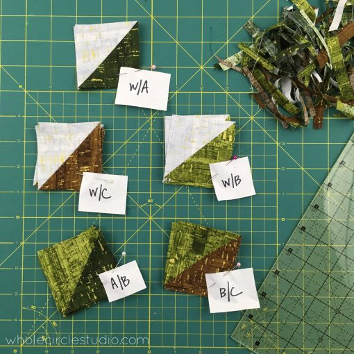 Leaf Peepers Quilt Block 1. Pattern and Quilt Along by Leah Day and Whole Circle Studio. Process shot 5
